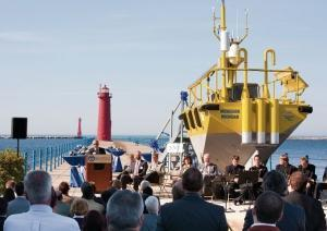 The research buoy deployed in Lake Michigan by Grand Valley State University's Michigan Alternative and Renewable Energy Center to study offshore wind potential is one of three such platforms in existence. The 20-foot-by-10-foot buoy weighs approximately 8 tons and can measure wind characteristics up to 150 meters above the water using advanced wind sensor technology.