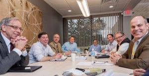 Participants in the MiBiz medical device manufacturing roundtable hosted at Medbio included (from left) Tom Vreeman, Chris Williams, Robert Nesky, Eric Icard, John Woodhouse, Jim Medsker, Craig Finkel and John Berchulc.