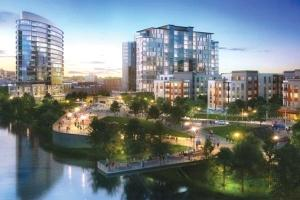 A previous rendering of Indianapolis developer Flaherty & Collins Properties' proposed $268.5 million project at 201 Market in Grand Rapids that has been scrapped after the city and developers unsuccessfully pursued Transformation Brownfield tax incentives.