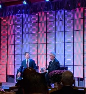 Bill Schuette, the GOP candidate for Michigan governor, talks with WOOD TV8 political reporter Rick Albin at the West Michigan Policy Forum.