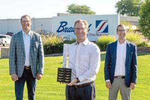 Bradford Co. in Holland won the Association for Corporate Growth West Michigan's 2020 Outstanding Growth Award. Pictured are Bradford Co. President and CEO Tom Bradford with the ACG's Jason Brinks of Oxford Financial Group (left) and Eric Fischer (right) from BDO.