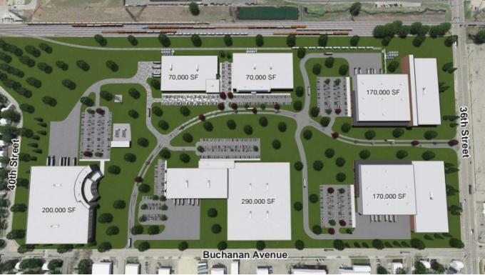 Possible early site plans for the Site 36 Industrial Park.