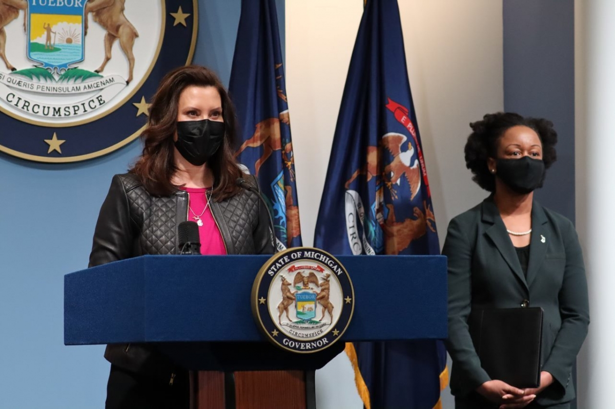Gov. Gretchen Whitmer and Chief Medical Executive Dr. Joneigh Khaldun at a March 19 press conference.