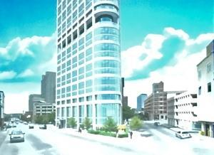 This is a photo of a rendering presented at the Grand Rapids Historic Preservation Commission of a 42-story tower proposed by developers The Hinman Co. of Portage. The commission tabled discussion of the project until the developer provided more details on the facade and design.