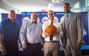 The Grand Rapids Drive will play in the NBA Developmental League. The team's ownership is local and controls marketing and community relations, but the Pistons home office runs the basketball operations. Pictured are (l-r) Detroit Pistons general manager Jeff Bower, Pistons coach Stan Van Gundy, Grand Rapids Drive president Steve Jbara and Drive coach Otis Smith.