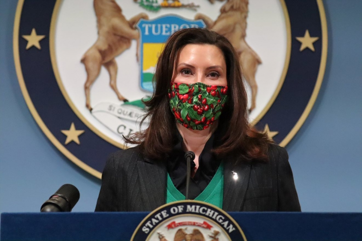 Gov. Gretchen Whitmer speaks at a press conference on Friday, Jan. 22