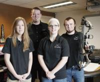 DeWys Engineering of Coopersville has started developing its own line of consumer products to hedge against cyclical downturns in the business. Its first product, the StaBowMount, allows users to affix a GoPro camera to a compound bow. The company includes (L-R) Jennifer Bissard, Paul DeWys, Taylor Zerfas and Will Finkler.