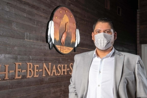 "The Match-E-Be-Nash-She-Wish Band of Pottawatomi Indians, or Gun Lake Tribe, took swift action early on in the COVID-19 pandemic to shut down its casino and parts of its government operations. ""We want to lead with compassion and show that we're supporting everyone and their safety and their well being,"" said Bob Peters, chairman of the Gun Lake Tribe, pictured at the tribe's government complex in Bradley, south of Grand Rapids."
