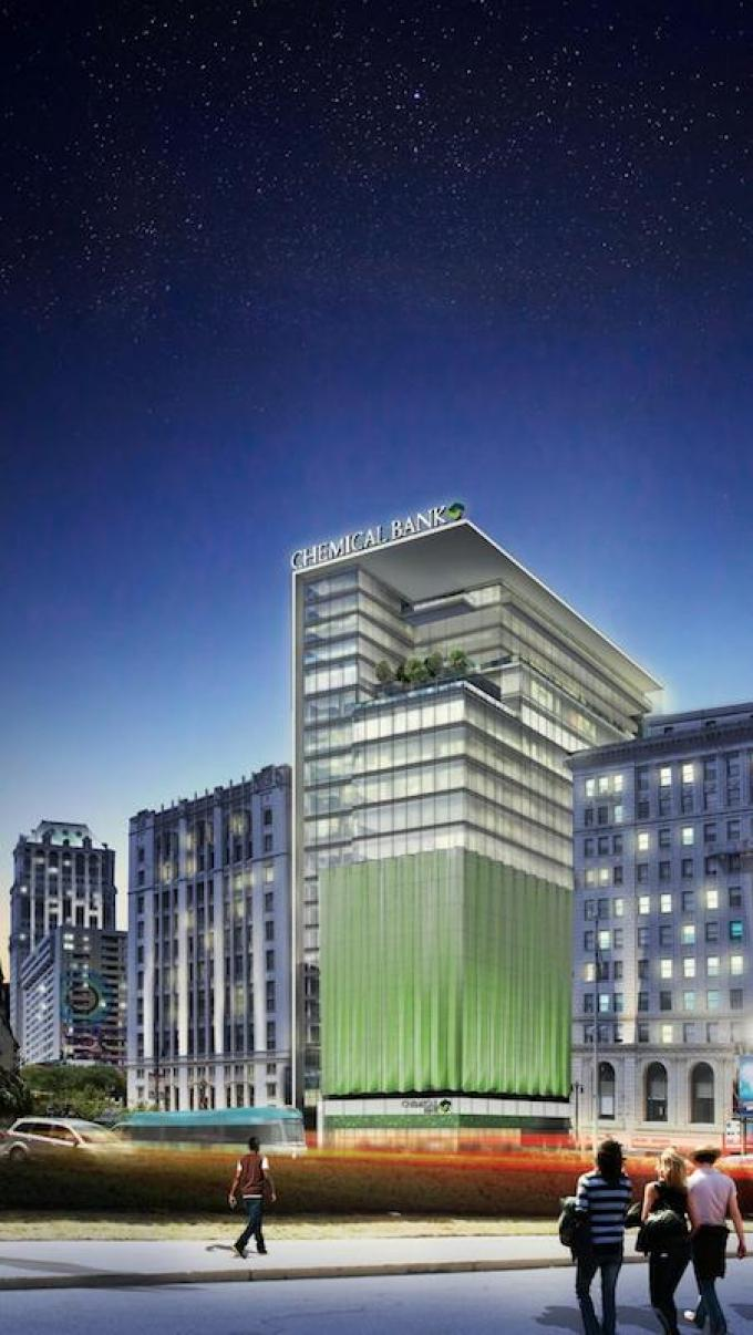 A rendering shows a proposed 20-story tower in Detroit where Chemical Bank plans to move its corporate headquarters and hire 500 people.