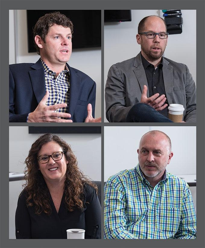 Joining MiBiz for an office furniture supplier roundtable were (clockwise from top left) Light Corp. President Kyle Verplank, Genesis Seating President Kevin Kuske, Sustainable Research Group Project Manager Tara Fowler-Bartman and Rapid-Line President Rick Van Dis.