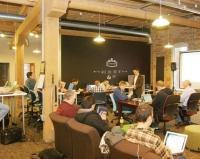 "The Factory founder Aaron Schaap says interactions that happen in coworking spaces like his, which is located at 38 West Fulton Street in downtown Grand Rapids, serve as a microcosm of the activity that happens in urban environments. ""Having these types of places creates a culture that just feeds on itself,"" he said."