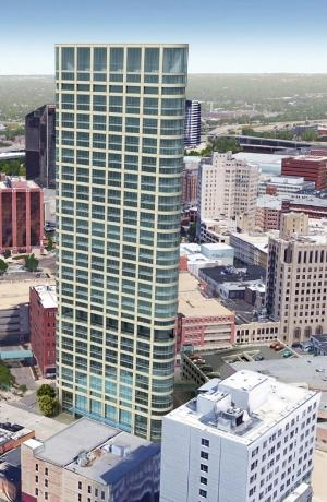 The Hinman Co. presented renderings yesterday to the Grand Rapids Historic Preservation Commission that showed more detail of the developer's proposed 42-story downtown skyscraper.