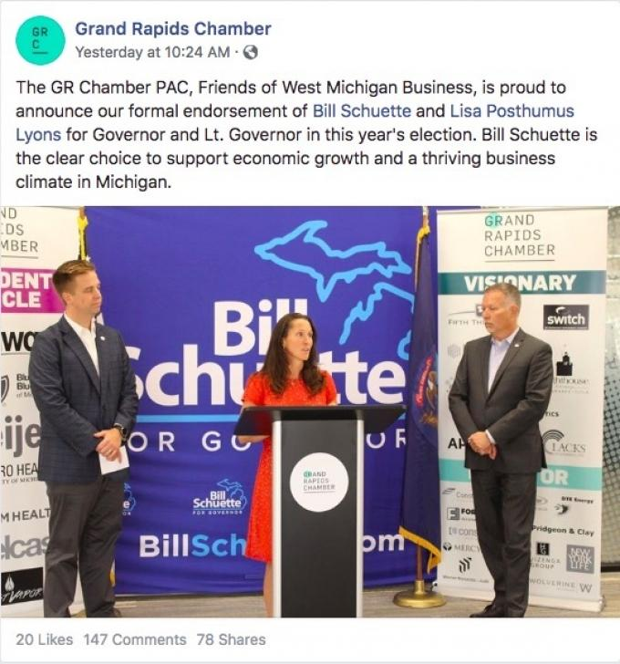 A screenshot of the Grand Rapids Area Chamber of Commerce's Facebook post announcing its endorsement of Michigan GOP gubernatorial candidate Bill Schuette.
