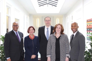 The New Community Transformation Fund aims to deploy venture capital to minority communities in West Michigan. Partners in the fund include (from left to right) Skot Welch of Global Bridgebuilders, Birgit Klohs of The Right Place Inc., Garrick Rochow from Consumers Energy, Renee Tabben from Bank of America, and Kwame Anku of Black Star Fund.