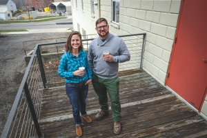 Jessica Stricklen, left, and brewer Sebastian Henao Van Bommel, right, are working to launch Brewery Nyx, the state's first gluten-free brewery, which it plans to open in June in Grand Rapids' Roosevelt Park neighborhood.