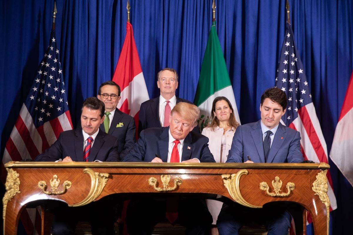 The United States-Mexico-Canada Agreement (USMCA) has been signed by (from left) Mexican President Enrique Peña Nieto, U.S. President Donald Trump, and Canadian Prime Minister Justin Trudeau, although it must still be ratified by the U.S. and Canada.