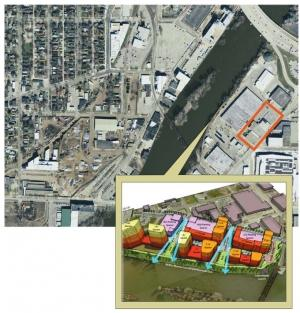 The Grand Rapids Parking Commission is proposing demolishing two city-owned buildings on Market Avenue to make way for a $1.5 million, 276-space surface parking lot in an area approximated by the orange box. However, developers and others say the city's riverfront corridor should be reserved for uses other than parking. The city's 2012 Green Grand Rapids report recommended mixed-use residential uses be targeted for that area, as shown by the artist's rendering in the inset.