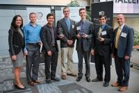 Jordan Vanderham, pictured third from the right, credits student business plan competitions with providing real-world lessons in entrepreneurism. He and partner Jared Seifert won $65,000 in funding at 18 pitch competitions for Orindi Ventures LLC, which is presently beta testing a mask for people who work in severe cold.