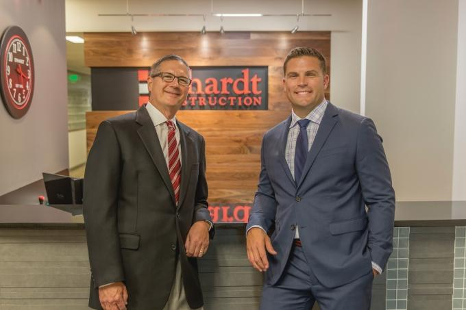 Erhardt Construction President Ben Wickstrom, right, will take over ownership and leadership of the 55-year-old family-owned general contracting firm at the end of the year. Outgoing Chairman and CEO Joe Erhardt, left, believes it's the right time to transfer ownership outside the family.