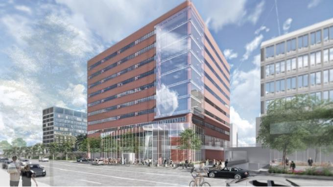 Rendering of the redesign project for the Calder Plaza Building at 250 Monroe Ave. in Grand Rapids.