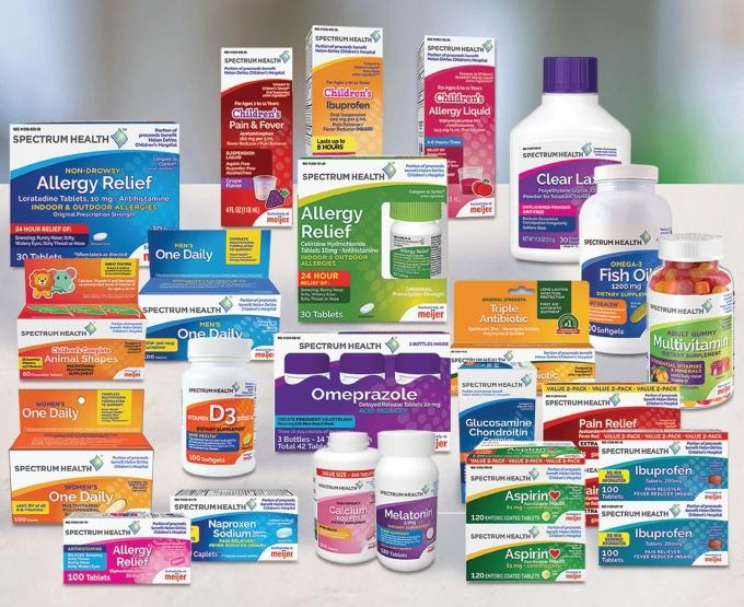 Spectrum Health partnered with Meijer to co-brand commonly used over-the-counter medications that will be available near the pharmacy counters at 23 stores in West Michigan that correspond with the health system's  footprint.