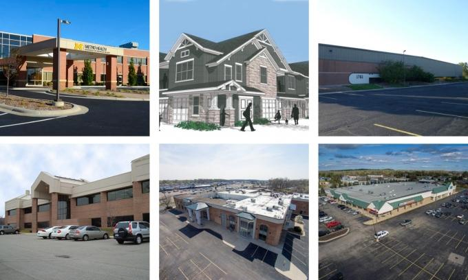 Real estate deals that closed this year include a $35.3 million transaction for the Metro Health-University of Michigan Health building near Cascade Road and I-96, top left; the $57 million sale of The Ridges of Cascade in Cascade Township, top middle; and the $3.75 million transaction for 1761 Airport Court in Holland, top right, 5537 Glenwood Hills Parkway for $4 million, bottom left; a $3.4 million deal for the former Klingman's Furniture store in Wyoming, bottom middle; and a deal for a Jenison shopping center for $5.25 million, bottom right.