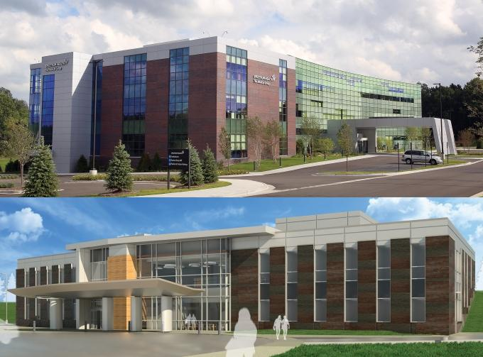 Spectrum Health opened an integrated care center on East Beltline Avenue, top, in 2014 and recently began construction on a similar medical campus off 10 Mile Road NE in Algoma Township near Rockford. The new facility (bottom) is expected to open next year.