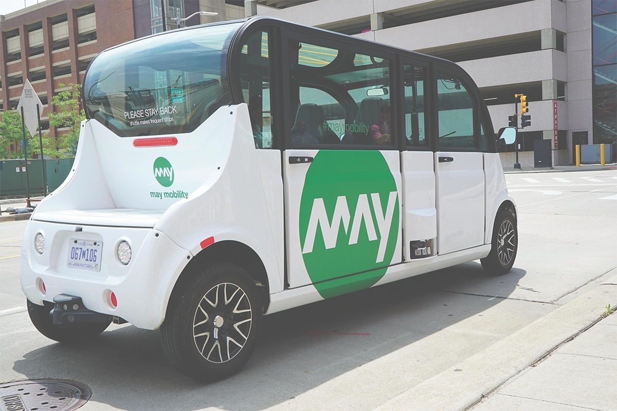 May Mobility operated an autonomous shuttle along the DASH route in cooperation with The Rapid, the city of Grand Rapids, Planet M and other partners.