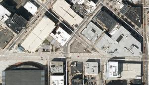 The Hinman Co. has proposed a 42-story tower for the wedge-shaped parcel at the center of this map.