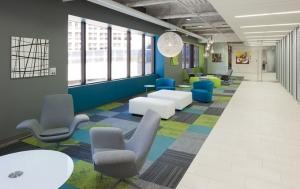 The 99 Monroe renovation transformed a tired office building in downtown Grand Rapids into a modern office facility.
