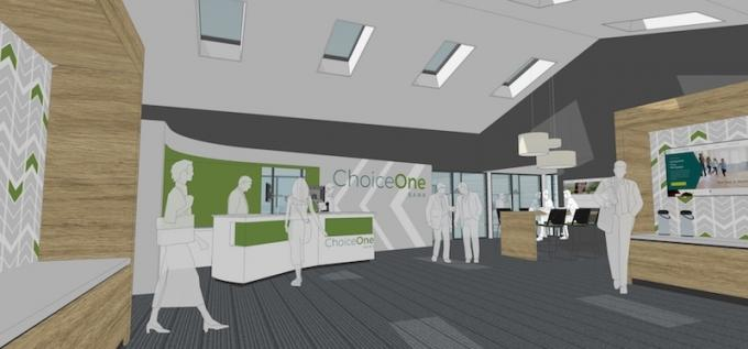 Rendering of the interior of ChoiceOne Bank's planned branch office in Rockford.