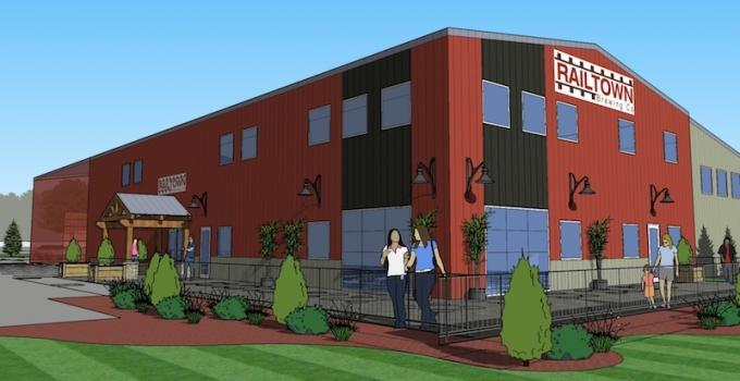 Rendering of the proposed new taproom and production facility for Railtown Brewing Co. in Dutton.