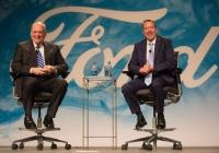 "Veteran Steelcase executive Jim Hackett, left, was tapped to lead Dearborn-based Ford Motor Co. Executive Chairman Bill Ford, right, who's known Hackett for years, said the pair ""always clicked in terms of thinking about the future."""