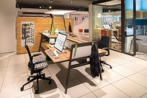 Office furniture manufacturers like Steelcase, whose products are shown, have increasingly shifted their focus and their business model to support coworking facilities.