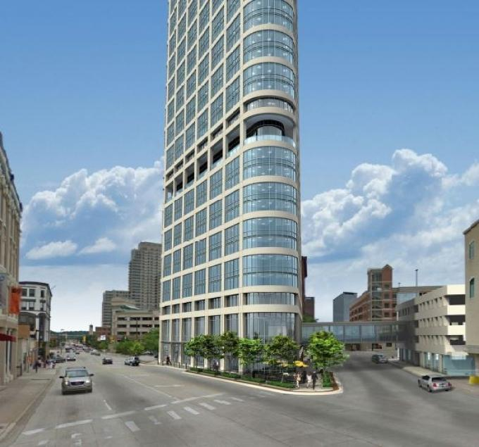 The most popular story in 2016 was on the proposed 42-story tower from Hinman Co., pictured here.