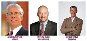 (left to right) Jonathan Anderson, partner at Grand Rapids law firm Varnum LLP, Matthew Mason, managing director at Conway MacKenzie Inc. and Michael Sytsma, senior vice president at Chemical Bank.
