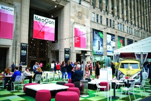 Architecture firm Gensler Chicago teamed up with Holland-based Haworth Inc. during NeoCon this month for a temporary outdoor office and lounge outside of Chicago's Merchandise Mart.