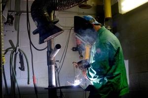 A new report shows that wages in Michigan and other Right to Work states grew slower than in adjacent states that preserved collective bargaining rights. For their part, unions leaders in West Michigan say they've not seen many members opt out of paying dues. Here, a member of the West Michigan Plumbers, Fitters & Service Trades Local Union 174 trains on welding.