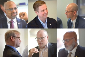 Top left to bottom right: Bill Pink, Grand Rapids Community College, Andy Johnston, Grand Rapids Area Chamber of Commerce, Jacob Maas, West Michigan Works!, Paul Isely, Grand Valley State University, Aaron Maike, Baker College of Muskegon, Dale Nesbary, Muskegon Community College