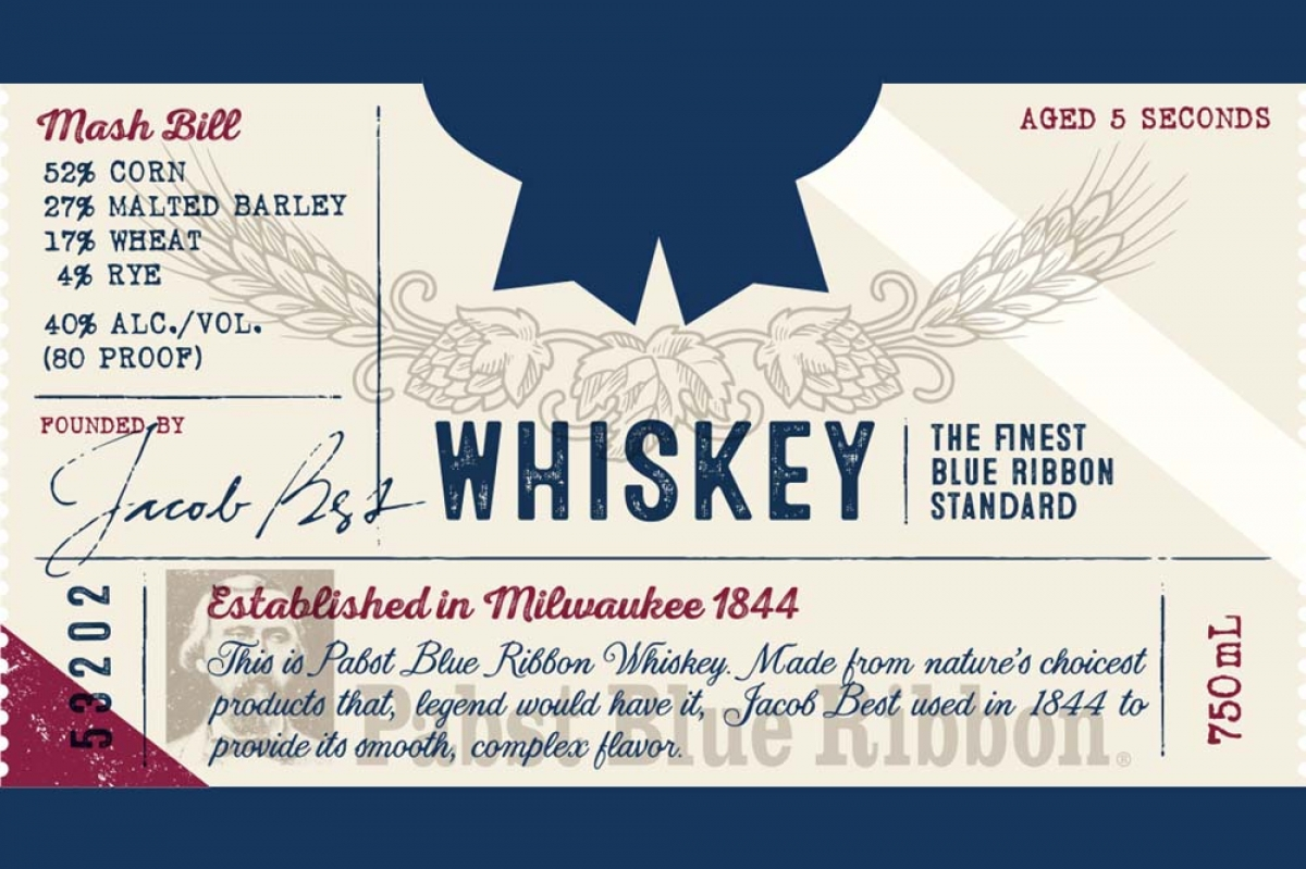 New Holland Brewing Co. received federal approval for a three-panel label for a product branded Pabst Blue Ribbon Whiskey. The front label for the product is shown here.