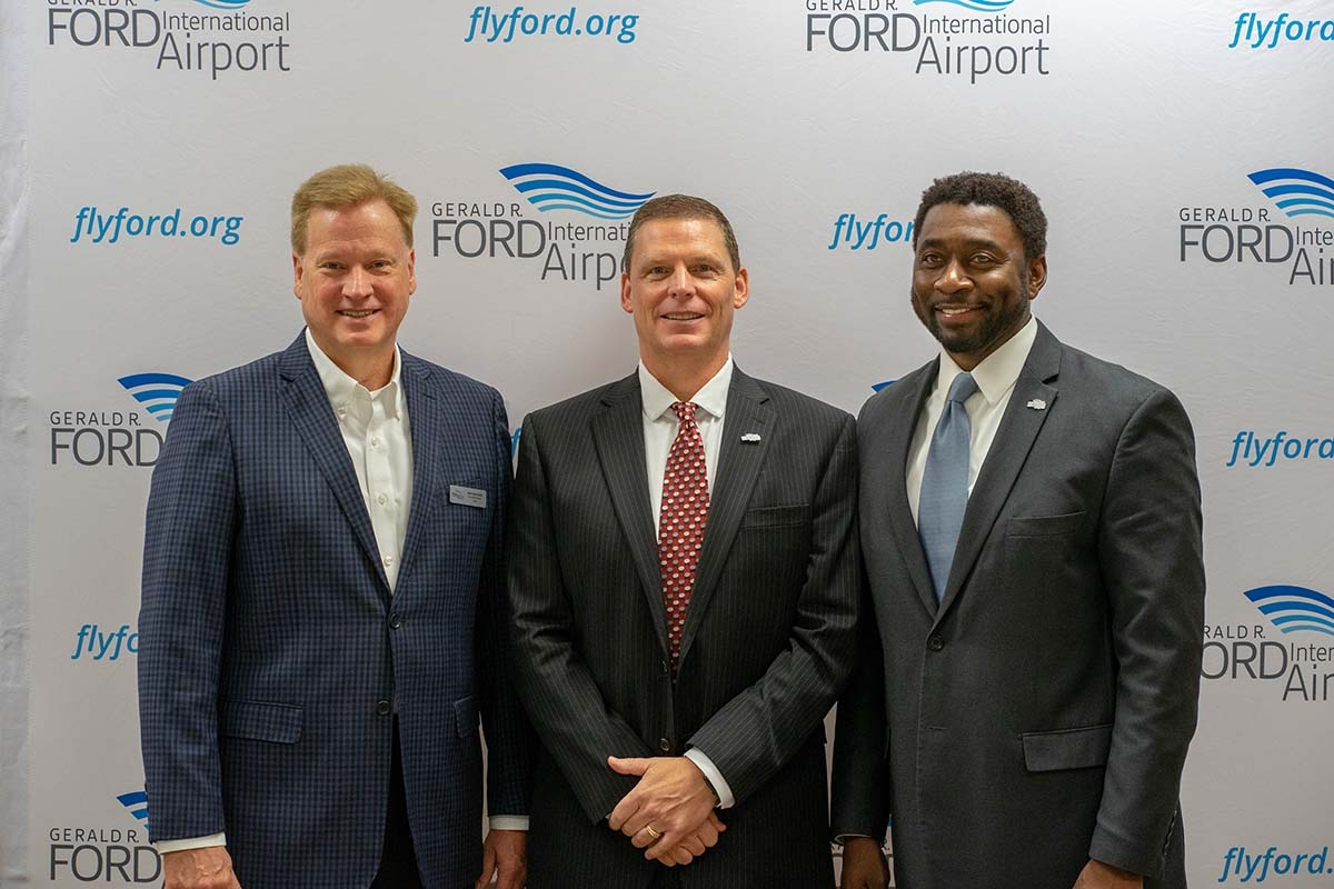 L to R: Gerald R. Ford International Airport Authority Board Chair Dan Koorndyk, incoming CEO Torrance Richardson, Gerald R. Ford International Airport Authority Vice Chair Floyd Wilson.