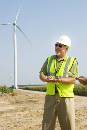 Rich VanderVeen at Gratiot County Wind Farm.