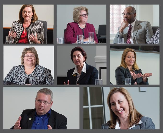 Joining MiBiz for an economic development roundtable were (top row from left) Linda Blair of ITC Michigan, Jill Bland of Southwest Michigan First and Ed Garner of Muskegon Area First; (second row from left) Karen Hinkle of Michigan Economic Development Corp., Birgit Klohs of The Right Place Inc. and Jennifer Owens of Lakeshore Advantage; (bottom row from left) Bob Tresize of Lansing Economic Area Partnership and Kara Wood of City of Grand Rapids Economic Development Corp.