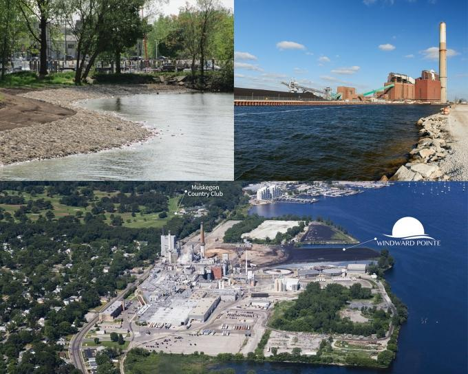 Improvements on Muskegon Lake, including (clockwise, from upper left) softening the one-time industrial shoreline to a more natural state, tearing down the former B.C. Cobb power plant and demolishing the Sappi paper plant for a new neighborhood redevelopment, have widespread benefits to the local economy. Some efforts were made possible through federal Great Lakes Restoration Initiative funding, which the Trump administration's proposed budget would cut by 90 percent.