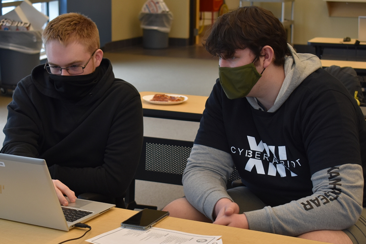Left to right: Matt Stowers and Sam Montgomery, both students at Ravenna High School, also attend the Muskegon Area Career Tech Center's Internet, Network & Security Technology program.