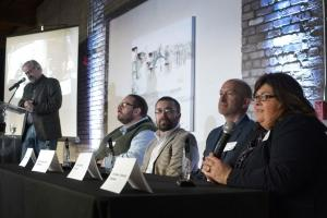 Vera Beech (far right) speaks as a member of the Best-Managed Nonprofits panel on Thursday, Dec. 3 in Grand Rapids.