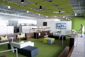 Rockford Construction's new headquarters features smaller offices, but more collaborative space, as shown above, will help foster the company's corporate culture, executives said.