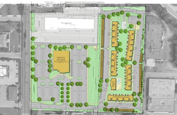 Developers plan mixed-use project featuring Mercy Health at vacant Norton Shores Kmart site