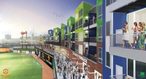 Half of the 84 apartment units at The Outfield offer residents views of Cooley Law School Stadium, home to the Lansing Lugnuts baseball team. Gillespie Group, a Lansing-based developer and property management firm, hopes to offer tenants a Wrigley Field-type experience in the state capital with the $11 million project.